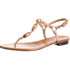 Gucci bamboo Sandles Tan Leather Thong Size 9